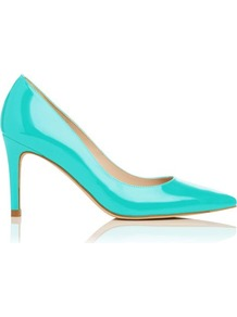 Florete Patent Leather Point Toe Court Shoe Blue Turquoise - predominant colour: turquoise; occasions: evening, work, occasion; material: leather; heel height: high; heel: stiletto; toe: pointed toe; style: courts; finish: patent; pattern: plain