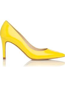 Florete Patent Leather Point Toe Court Shoe Yellow - predominant colour: yellow; occasions: evening, occasion; material: leather; heel height: high; heel: stiletto; toe: pointed toe; style: courts; trends: fluorescent; finish: patent; pattern: plain