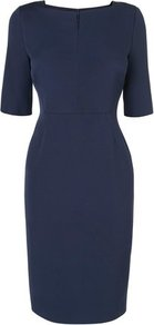 Tan Fitted Dress Blue Navy - style: shift; neckline: v-neck; fit: tailored/fitted; pattern: plain; predominant colour: navy; occasions: evening, work, occasion; length: on the knee; fibres: polyester/polyamide - stretch; sleeve length: half sleeve; sleeve style: standard; texture group: crepes; trends: glamorous day shifts; pattern type: fabric