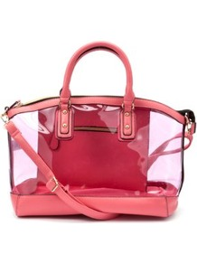 Fuchsia Winged Transparent Bowler Bag - predominant colour: hot pink; occasions: casual, holiday; type of pattern: standard; style: bowling; length: handle; size: standard; material: plastic/rubber; pattern: plain; finish: plain