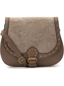 Light Brown Embossed Saddle Bag - predominant colour: chocolate brown; occasions: casual, holiday; type of pattern: standard; style: saddle; length: across body/long; size: standard; material: faux leather; embellishment: studs; pattern: florals; finish: plain