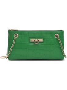 Adjustable Clutch - predominant colour: emerald green; occasions: casual, evening, occasion; type of pattern: standard; style: clutch; length: across body/long; size: small; material: leather; pattern: animal print; finish: plain; embellishment: chain/metal