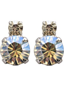 Crystals Earrings - predominant colour: silver; occasions: evening, occasion; style: stud; length: short; size: small; material: chain/metal; fastening: pierced; finish: plain; embellishment: crystals
