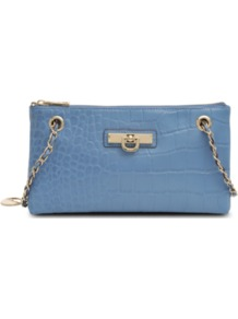 Adjustable Clutch - predominant colour: indigo; occasions: casual, evening, occasion; type of pattern: light; style: clutch; length: hand carry; size: small; material: leather; pattern: plain; finish: plain; embellishment: chain/metal