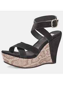 Ariah Peeptoe Wedges, Black - predominant colour: black; occasions: casual, evening, holiday; material: leather; heel height: high; embellishment: buckles; ankle detail: ankle strap; heel: wedge; toe: open toe/peeptoe; style: strappy; finish: plain; pattern: animal print