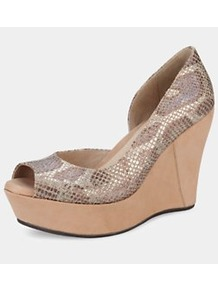 Toura Wedge Sandals - predominant colour: camel; occasions: casual, evening, occasion, holiday; material: leather; heel height: high; heel: wedge; toe: open toe/peeptoe; style: standard; trends: metallics; finish: metallic; pattern: animal print
