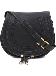 Marcie Satchel - predominant colour: black; occasions: casual; style: saddle; length: across body/long; size: small; material: leather; pattern: plain; finish: plain; embellishment: chain/metal