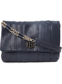 Gracie Shoulder Bag - predominant colour: navy; occasions: casual, evening, occasion; style: shoulder; length: shoulder (tucks under arm); size: standard; material: leather; embellishment: pleated; pattern: plain; finish: plain