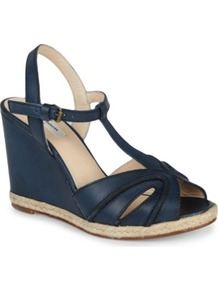 Milos Leather Wedge Sandals - predominant colour: navy; occasions: casual, holiday; material: leather; heel height: high; embellishment: buckles; ankle detail: ankle strap; heel: wedge; toe: open toe/peeptoe; style: standard; finish: plain; pattern: plain