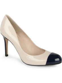 Bruton Patent Leather Courts - predominant colour: ivory; occasions: evening, work, occasion; material: leather; heel height: high; heel: stiletto; toe: round toe; style: courts; finish: patent; pattern: colourblock; embellishment: toe cap