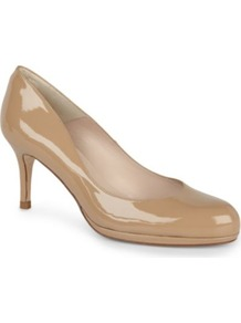 Sybila Patent Leather Courts - predominant colour: nude; occasions: evening, work, occasion; material: leather; heel height: high; heel: stiletto; toe: round toe; style: courts; finish: patent; pattern: plain