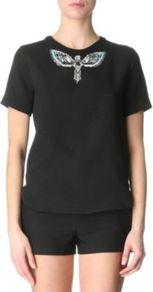 Embellished Top - pattern: plain; bust detail: added detail/embellishment at bust; style: t-shirt; predominant colour: black; occasions: casual, evening, holiday; length: standard; fibres: polyester/polyamide - stretch; fit: straight cut; neckline: crew; back detail: keyhole/peephole detail at back; sleeve length: short sleeve; sleeve style: standard; pattern type: fabric; pattern size: small &amp; light; texture group: jersey - stretchy/drapey; embellishment: beading