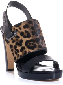 Pegno Sandals - predominant colour: black; occasions: evening, work; material: leather; heel height: high; heel: platform; toe: open toe/peeptoe; style: standard; finish: plain; pattern: animal print