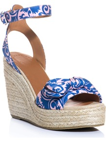 Pretty Knot Espadrille Wedge Shoes - predominant colour: royal blue; occasions: casual, occasion, holiday; material: fabric; heel height: high; ankle detail: ankle strap; heel: wedge; toe: open toe/peeptoe; style: standard; finish: plain; pattern: patterned/print; embellishment: bow