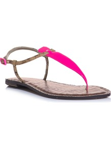 Gi Gi Sandals - predominant colour: hot pink; occasions: casual, holiday; material: leather; heel height: flat; embellishment: buckles; ankle detail: ankle strap; heel: standard; toe: toe thongs; style: flip flops / toe post; trends: fluorescent; finish: patent; pattern: plain