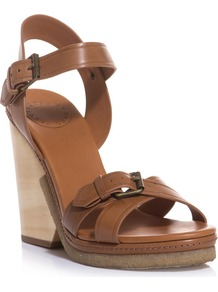 Buckle Up Wooden Wedges - predominant colour: tan; occasions: casual, evening, holiday; material: leather; heel height: high; embellishment: buckles; ankle detail: ankle strap; heel: wedge; toe: open toe/peeptoe; style: strappy; finish: plain; pattern: plain