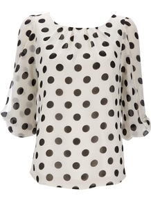 Black Polka Dot Petite Top - neckline: roll neck; sleeve style: balloon; style: blouse; pattern: polka dot; predominant colour: white; secondary colour: black; occasions: casual, work; length: standard; fibres: polyester/polyamide - 100%; fit: straight cut; back detail: keyhole/peephole detail at back; sleeve length: 3/4 length; texture group: sheer fabrics/chiffon/organza etc.; bust detail: tiers/frills/bulky drapes/pleats; pattern type: fabric; pattern size: standard