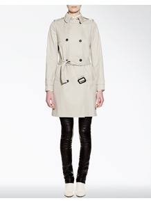 Cotton Biba Trench Coat - pattern: plain; style: trench coat; fit: slim fit; collar: standard lapel/rever collar; length: mid thigh; predominant colour: stone; occasions: casual, evening, work; fibres: cotton - 100%; waist detail: belted waist/tie at waist/drawstring; shoulder detail: discreet epaulette; back detail: back vent/flap at back; sleeve length: long sleeve; sleeve style: standard; texture group: cotton feel fabrics; collar break: medium; pattern type: fabric; pattern size: standard
