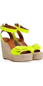 Canvas Wedge Sandals In Yellow - predominant colour: lime; occasions: casual, evening, holiday; material: fabric; ankle detail: ankle strap; heel: wedge; toe: open toe/peeptoe; style: standard; trends: fluorescent; finish: fluorescent; pattern: plain; embellishment: bow; heel height: very high