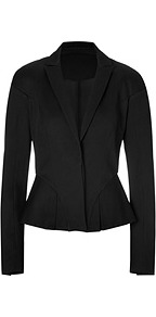 Peplum Blazer In Jet Black - pattern: plain; style: single breasted blazer; collar: standard lapel/rever collar; predominant colour: black; occasions: evening, work, occasion; length: standard; fit: tailored/fitted; fibres: cotton - 100%; waist detail: peplum detail at waist; sleeve length: long sleeve; sleeve style: standard; collar break: medium; pattern type: fabric; texture group: woven light midweight