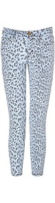 Stiletto Low Rise 7/8 Jeans In Bleached Out Leopard - style: skinny leg; pocket detail: traditional 5 pocket; waist: mid/regular rise; predominant colour: pale blue; occasions: casual, evening; length: ankle length; fibres: cotton - mix; texture group: denim; pattern type: fabric; pattern size: big & busy; pattern: animal print
