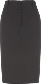 Black Cotton Sateen Pencil Skirt - pattern: plain; style: pencil; fit: tailored/fitted; waist: high rise; predominant colour: black; occasions: evening, work; length: on the knee; fibres: cotton - stretch; pattern type: fabric; pattern size: standard; texture group: other - light to midweight