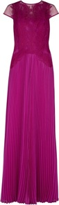 Ted Baker Lumina Feather Applique Maxi Dress - sleeve style: capped; pattern: plain; style: maxi dress; bust detail: added detail/embellishment at bust; waist detail: fitted waist; back detail: contrast pattern/fabric at back; predominant colour: magenta; occasions: evening, occasion; length: floor length; fit: body skimming; fibres: polyester/polyamide - 100%; neckline: crew; hip detail: soft pleats at hip/draping at hip/flared at hip; sleeve length: short sleeve; texture group: sheer fabrics/chiffon/organza etc.; pattern type: fabric; pattern size: standard; embellishment: embroidered