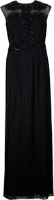 Ted Baker Elidi Embellished Maxi Dress - sleeve style: capped; pattern: plain; style: maxi dress; bust detail: added detail/embellishment at bust; waist detail: twist front waist detail/nipped in at waist on one side/soft pleats/draping/ruching/gathering waist detail; shoulder detail: contrast pattern/fabric at shoulder; predominant colour: black; occasions: evening, occasion; length: floor length; fit: body skimming; fibres: polyester/polyamide - 100%; neckline: crew; hip detail: structured pleats at hip; back detail: keyhole/peephole detail at back; sleeve length: sleeveless; texture group: sheer fabrics/chiffon/organza etc.; pattern type: fabric; pattern size: standard; embellishment: beading