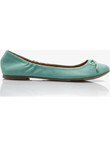 Canvas Ballet Flats - predominant colour: pistachio; occasions: casual, work, holiday; material: faux leather; heel height: flat; toe: round toe; style: ballerinas / pumps; finish: plain; pattern: plain; embellishment: bow