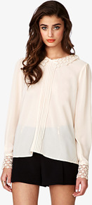 Crochet Collar Georgette Top - pattern: plain; style: blouse; bust detail: ruching/gathering/draping/layers/pintuck pleats at bust; predominant colour: nude; occasions: casual, evening, work; length: standard; fibres: polyester/polyamide - 100%; fit: loose; neckline: no opening/shirt collar/peter pan; sleeve length: long sleeve; sleeve style: standard; texture group: sheer fabrics/chiffon/organza etc.; pattern type: fabric; pattern size: standard