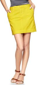 Twill Mini - length: mini; pattern: plain; waist: mid/regular rise; predominant colour: yellow; occasions: casual, holiday; style: mini skirt; fibres: cotton - 100%; texture group: cotton feel fabrics; fit: straight cut; pattern type: fabric; pattern size: standard