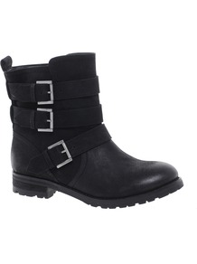 Asterix Leather Biker Boots - predominant colour: black; occasions: casual; material: leather; heel height: flat; embellishment: buckles; heel: standard; toe: round toe; boot length: ankle boot; style: biker boot; finish: plain; pattern: plain