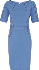 Lamine Lace Panel Bodycon Dress - style: shift; neckline: round neck; fit: tailored/fitted; pattern: plain; waist detail: fitted waist; hip detail: fitted at hip; shoulder detail: contrast pattern/fabric at shoulder; predominant colour: indigo; occasions: evening, occasion; length: just above the knee; fibres: cotton - mix; sleeve length: short sleeve; sleeve style: standard; texture group: jersey - clingy; pattern type: fabric; pattern size: standard
