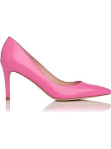 Florete Leather Point Toe Court Shoe Pink Fuschia Fluroescent - predominant colour: hot pink; occasions: evening; material: leather; heel height: high; heel: stiletto; toe: pointed toe; style: courts; finish: plain; pattern: plain