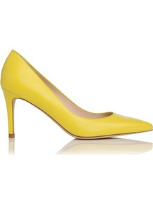 Florete Leather Point Toe Court Shoe Yellow Lemon Fluroescent - predominant colour: yellow; occasions: evening, work, holiday; material: leather; heel height: high; heel: stiletto; toe: pointed toe; style: courts; finish: plain; pattern: plain