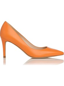 Florete Leather Point Toe Court Shoe Orange - predominant colour: bright orange; occasions: evening, work, occasion; material: leather; heel height: high; heel: stiletto; toe: pointed toe; style: courts; finish: plain; pattern: plain