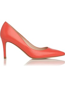 Florete Leather Point Toe Court Shoe Orange Coral - predominant colour: coral; occasions: evening, work, occasion; material: leather; heel height: high; heel: stiletto; toe: pointed toe; style: courts; finish: plain; pattern: plain