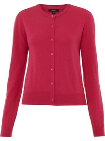 Crew Cardigan, Pink - neckline: round neck; pattern: plain; predominant colour: hot pink; occasions: casual, work; length: standard; style: standard; fibres: cotton - mix; fit: standard fit; sleeve length: long sleeve; sleeve style: standard; texture group: knits/crochet; pattern type: knitted - fine stitch
