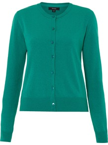 Women's Crew Cardigan, Green - neckline: round neck; pattern: plain; predominant colour: emerald green; occasions: casual, work; length: standard; style: standard; fibres: acrylic - mix; fit: standard fit; sleeve length: long sleeve; sleeve style: standard; texture group: knits/crochet; pattern type: knitted - other; pattern size: standard