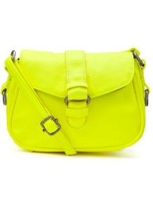 Neon Yellow Across Body Mini Satchel - predominant colour: lime; occasions: casual; style: satchel; length: across body/long; size: standard; material: faux leather; pattern: plain; trends: fluorescent; finish: fluorescent; embellishment: chain/metal