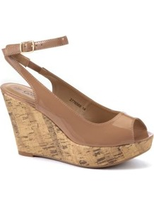 Nude Ankle Strap Peep Toe Wedge Sandals - predominant colour: nude; occasions: casual, evening, holiday; material: faux leather; heel height: high; embellishment: buckles; ankle detail: ankle strap; heel: wedge; toe: open toe/peeptoe; style: standard; finish: patent; pattern: plain