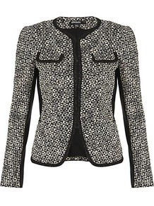 Tweed Jacket - pattern: plain; style: single breasted blazer; collar: round collar/collarless; predominant colour: black; occasions: evening, work; length: standard; fit: tailored/fitted; fibres: cotton - 100%; sleeve length: long sleeve; sleeve style: standard; collar break: high; pattern type: fabric; pattern size: small &amp; busy; texture group: woven light midweight