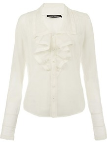 Helene Blouse - neckline: shirt collar/peter pan/zip with opening; pattern: plain; style: blouse; predominant colour: ivory; occasions: evening, work; length: standard; fibres: silk - mix; fit: tailored/fitted; sleeve length: long sleeve; sleeve style: standard; texture group: sheer fabrics/chiffon/organza etc.; trends: sculptural frills; bust detail: tiers/frills/bulky drapes/pleats; pattern type: fabric