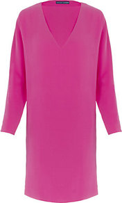 Jenning Silk Dress - style: shift; neckline: low v-neck; pattern: plain; predominant colour: hot pink; occasions: casual, evening, occasion; length: on the knee; fit: straight cut; fibres: silk - 100%; sleeve length: long sleeve; sleeve style: standard; texture group: jersey - clingy; pattern type: fabric; pattern size: standard