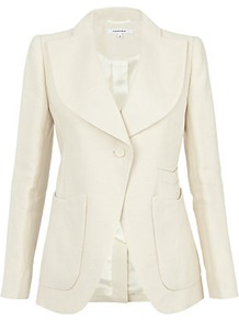 Panama Woven Straw Jacket - pattern: plain; style: single breasted blazer; collar: wide lapels; predominant colour: ivory; occasions: evening, work, occasion; length: standard; fit: tailored/fitted; fibres: cotton - 100%; sleeve length: long sleeve; sleeve style: standard; collar break: medium; pattern type: fabric; texture group: woven light midweight