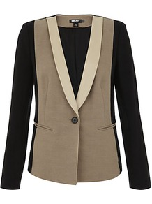 Contrast Linen Tuxedo Jacket - style: single breasted tuxedo; collar: shawl/waterfall; shoulder detail: contrast pattern/fabric at shoulder; predominant colour: taupe; occasions: evening, work; length: standard; fit: tailored/fitted; fibres: linen - mix; waist detail: fitted waist; sleeve length: long sleeve; sleeve style: standard; trends: tuxedo; collar break: low/open; pattern type: fabric; pattern size: standard; pattern: colourblock; texture group: woven light midweight