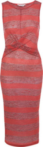 Red Texture Stripe Midi Dress - style: shift; length: calf length; neckline: round neck; sleeve style: sleeveless; pattern: striped; waist detail: twist front waist detail/nipped in at waist on one side/soft pleats/draping/ruching/gathering waist detail; hip detail: fitted at hip; predominant colour: true red; occasions: casual, evening; fit: body skimming; fibres: polyester/polyamide - mix; sleeve length: sleeveless; texture group: jersey - clingy; pattern type: fabric; pattern size: standard