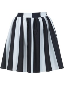 Stripe Ponti Skater Skirt - length: mid thigh; pattern: vertical stripes; fit: body skimming; waist: high rise; occasions: casual, evening, work, holiday; style: fit &amp; flare; fibres: polyester/polyamide - stretch; hip detail: sculpting darts/pleats/seams at hip; waist detail: narrow waistband; predominant colour: monochrome; trends: striking stripes, volume; pattern type: fabric; pattern size: big &amp; busy; texture group: jersey - stretchy/drapey