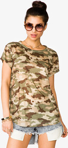 Camouflage Tee - neckline: round neck; length: below the bottom; style: t-shirt; predominant colour: khaki; occasions: casual, holiday; fibres: polyester/polyamide - 100%; fit: loose; back detail: longer hem at back than at front; sleeve length: short sleeve; sleeve style: standard; pattern type: fabric; pattern size: standard; pattern: patterned/print; texture group: jersey - stretchy/drapey