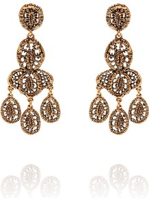 Lace Tired Chandelier Earrings - predominant colour: gold; occasions: evening, occasion; style: chandelier; length: long; size: standard; material: chain/metal; fastening: clip on